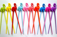 Wholesale New candy color animal learning chopsticks children training silicone chopstick safe gift chopsticks