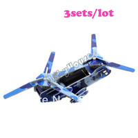 Wholesale 3SETS New Children Solar Powered Educational DIY Toy Assemble Robot Plane Kid Gift Camouflage Transport Aircraft Blue