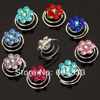 Wholesale 120PCS Silver Plated Color Flower Crystal Rhinestone Twists Spin Hair Jewelry Pins Spiral Spin Screw Pin Baby Hair Stickers