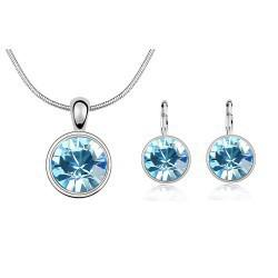 Wholesale-white gold plated crystal fashion necklace earrings wedding jewelry sets for women Made With Elements 3V301