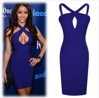 Wholesale 2014 New Summer Fashion Blue Sexy Mini Bandage Dresses Criss Cross Bodycon Hot Night Club Wear Women Clothing