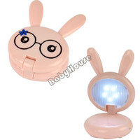 Colored Bulbs Desk Lamps ABS 4PCS LOT New Cartoon Kids Children Pink Mini Rabbit Shape Folding Up Desk Reading Table LED lamp White Lights 4734
