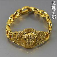 Wholesale High quality k Gold filled bar dj rock FRANCO Hiphop Cuban Link medusa Chain gold bracelet bangles fashion men jewelry bijouterie new