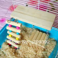 Wholesale Pet Bird Hamster Wooden Toy Rat Mouse Parrot Hanging Ladder Bridge Shelf Cage