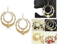 Wholesale pairs NEW Fashion Jewelry European and American Style Big Hoop Imitation Pearl Earrings Big ring hook earrings