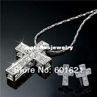 Wholesale MADE WITH SWAROVSKI ELEMENTS K Gold White Gold Gp Austrian Crystal Cross Earrings and Pendant Necklace set S925