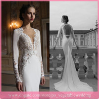 Trumpet/Mermaid Reference Images V-Neck Elegant Berta Bridal Gowns Backless V-neck Mermaid Long Sleeve Chiffon Lace Sweep Train 2014 Summer Beach Wedding Dresses With Crystal Belt