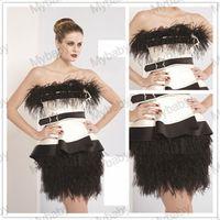 Cheap Strapless Backless Satin With Crystal Beads Feather Peplum Ruffle Sheath Mini Short Homecoming Garaduation Party Dress 2014 02
