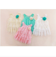 TuTu sundresses - Hot Sale Girl Lace Dresses Sweet Lace Flower Dresses Girls Tiered Lace Suspender Dress Summer Children s Sweet Cake Sundress