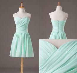 2017 New Arrival Bridesmaid Dresses A Line Sweetheart Knee Length Chiffon Bridesmaid Dresses Cheap Prom Homecoming Dresses EM01832