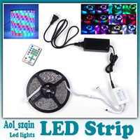 Wholesale 5m dream color smd rgb led strip leds horse race lamp led light flexible waterproof with remote controller V A power supply