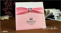 Wholesale 100pcs lace ribbon with heart shape buckle folio wedding invitation card different colors accept custom made