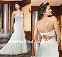Wedding Dresses Jiangsu China (Mainland) Natural (MF-32)Custom Made Spaghetti Strap Beaded Crystal Gossamer White Bridal Beach Chiffon Grecian Wedding Dresses