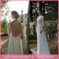 A-Line Reference Images Jewel Most Beautiful ! 2014 Berta Bridal Sheer Crew A-line Chiffon Lace Applique Long Sleeve Beach Wedding Dresses Free Shipping