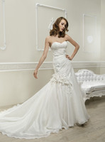 Cheap Trumpet/Mermaid Wedding dresses Best Reference Images Strapless lace up back