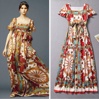 Wholesale New Arrival Women s Square Neckline Flare Sleeves Classic Pattern Printed Empire Waist A Line Runway Dresses