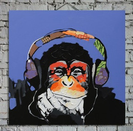 Hand Painted Abstract Animal Painting Orangutan Art on Wall 1pc for Sofa Wall or TV Wall Decoration