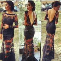 Reference Images Jewel/Bateau Lace Backless Mermaid Lace Kim Kardashian Dresses Vestidos 2014 Black Bateau Sheer Evening Dresses with Long Sleeve Celebrity Dress DH4
