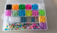 Wholesale Rainbow Loom Kit Clear Plastic Box for Kids DIY bracelets New Arrival Beautiful Bracelet Come With clips charms mix beads DHL