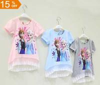 Wholesale 10 Off baby girls frozen Elsa Anna princess printed long t shirt dress tee children summer short sleeve lace dress pink blue gray