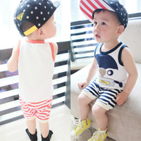"Cheap "" Baby Zhenguai "" summer children suit vest cute penguin suit brand children's clothing wholesale manufacturers"