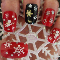 Wholesale 12 Sheet Christmas snowflakes Design D Nail Art Stickers Decals Nail Art Decoration Drop shipping