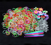 Unisex 5-7 Years Multicolor 2014 Hot Sell Funny Toy rainbow loom kit refill Transparent luminous bands for DIY bracelets (600 bands, 24 S clips, 1 hook)