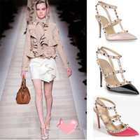 Wholesale Valentin Shoes For Women Red Bottom High Heels PU Stileto Neon Nude Pumps Prom Shoes With Rivets Pigalle Pointed Toe High Heels