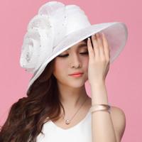 wide brim hats - Women Organza Hat Fashion Summer Hat White Wedding Hat Flower Wide Brim Floppy Ruffle Wave Brim Floppy Ruffle Organza Wide Brim