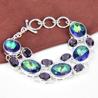 Wholesale Mystic Topaz Handmade Silver gemstone jewelry ladies bracelets amp bangles B1041