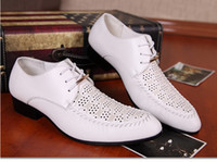 Wholesale 2014 Men s wedding groom shoes Mens Shiny leather shoes Unique men casual shoes Hollow out breathable