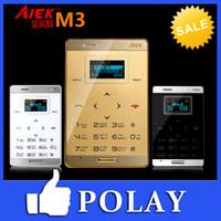 Wholesale Cheapest Original AIEK M3 Mini Touch thin Pocket Card Cool Mobile Phone MP3 FM Bluetooth English Phone