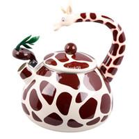 Wholesale Best Enamel Giraffe Kettle L Porcelain Enamel Teapot Kettle Whistle Kettle Enamelware Drop Shipping