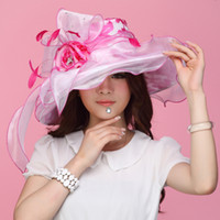 Rose red white  big brim - Women Hat Organza Hat Summer Hat Women Shawl Hair Accessoies Flower Wide Brim Organza Hat Big Brim Floppy Two Tone Color