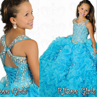Wholesale 2014 Most Beautiful Square A line Ball Gowns Organza Beaded Crystal Girls Pageant Dresses Ritzee Formal Kids Party Prom Gowns