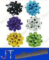 Hair Bows polyester  Dot free shipping Big Polka Dot Hair Bow with Hair Clips Hair Flower For Babies mix 6 colors MYY1322