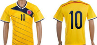 Wholesale world cup Colombia Home JAMES soccer jerseys Best Thai Quality Yellow top quality Free Custom Size S XL
