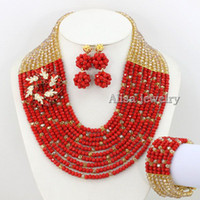 Wholesale Hot Sale African Wedding Jewelry Set Crystal Beads Necklace With Flower Bridal Necklace Crystal Necklace Wedding Gift Statement Necklace