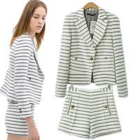 Wholesale skirt ZA New Fashion Strip Casual Suit Women Cloth Set ladies Blazer Coat Short Pants suits for women Office Lady C4642 C4258