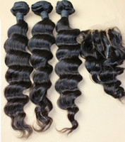 Brazilian Hair Natural Color Loose Wave 2014 Brazilian virgin hair unprocessed hair loose wave 1 piece lace top closure with 3pcs hair bundles bleached knots