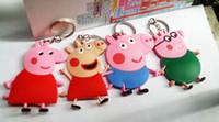 Anime Cartoon Peppa Pig Toys Keychains PVC Key Chains Pendan...
