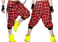Wholesale New fashion Women Hip hop Trousers dance wear pants patchwork ds costume spring summer female thin plaid harem sweatpants