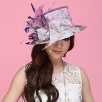 Wholesale Women Hat with Shawl Organza Hat Summer Sun Hat Organze fabric Women Hair Accessoies Flower Church Hat Wide Brim Party Hat with Feathers