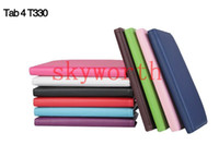 8'' smart auto - 360 Rotating PU Leather Case Smart Cover for Samsung Galaxy Tab4 T330 inch T230 tablet caseTab3 P3200 T210 Auto Sleep Wake UP
