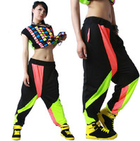 Polyester belly dance fashion - FASHION WOMENS CONTRAST BLACK COLOR HIP HOP BELLY DANCE HAREM PANTS SWEATPANTS Girls Streetwear baggy wear ladies cheap trousers clothing