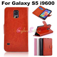 Wholesale For Galaxy S5 Fashion Retro Crazy Horse Skin Flip PU Wallet Leather Case Cover With Credit Card Slots Stand For Samsung Galaxy S5 i9600