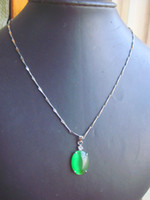 Wholesale new arrival fashion necklace opal pendant green oval shape silver plated copper chain