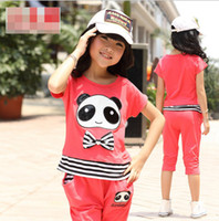 Wholesale 2014 Summer Kids Girls Outfit Chirld Panda Cartoon Striped Sport Odell Tracksuit Tshir Pants Sweat Suit Children Clothes J0084