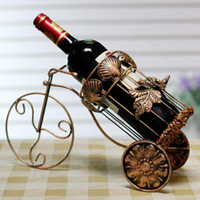 Wholesale Fashion wine rack wrought iron wine bottle holder stand bronze color bike shape