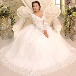 Wholesale New arrival hot sale Korean sweety Angel Luxury princess v neck long sleeved lace royal palace flowers bride wedding dress
